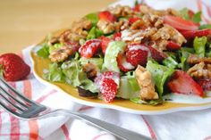 Strawberry Salad with Candied Walnuts and Poppyseed Dressing