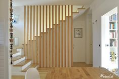Open Stairs, Wood Stairs, House Stairs, Home Stairs Design, Home Interior Design, House Design, Staircase Railings, Modern Staircase, Room Partition Designs