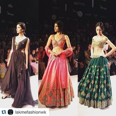 stunning colours and pieces! Definitely able to get some bridal outfit inspiration from these lenghas!  Check out our Pinterest boards for bridal inspiration! Don't forget our website www.planshaadi.com where you can find helpful blogs and videos!  ・・・ Dark hues with spectacular mirror work by @arpita__mehta at #LakmeFashionWeek