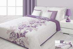 Narzuty dwustronne kremowe na łóżko z fioletowym ornamentem