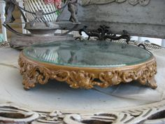 Antique Ornate Footed Silver Plated Mirror Plateau