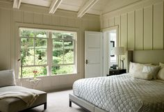 Bedroom wall and ceiling treatment ideas. Hutker Architects.