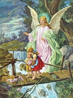 Guardian Angel with Children by Lindberg Heilige Schutzengel always loved this picture had one as a little girl in my room. Guardian Angel Pictures, My Guardian Angel, Paint By Number Diy, Clara Berry, Angels Among Us, Angel Art, Print Pictures, Oil Painting On Canvas, Framed Art