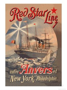 Red Star Cruise Line: Antwerp, New York, and Philadelphia Prints by C. Satzmann at AllPosters.com