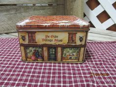 Vintage Tin Box Company Tin Can Canister Container Box Ye Olde Village Shop Made in England by EvenTheKitchenSinkOH on Etsy