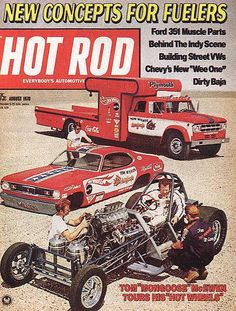Tom McKewen with his car hauler on the cover of Hot Rod magazine