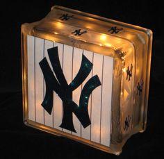 New York Yankees Glass Block Light by lightsinthesquare on Etsy
