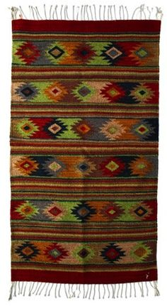 Spring Starburst Wool Rug from Oaxaca, Mexico