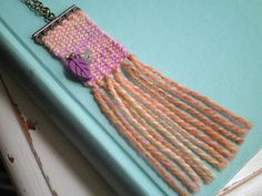 Woven Fiber Art Textile Necklace - Purple & Orange Wool Tapestry Long Chain Necklace - Modern Leaf Y Art Textile, Textile Jewelry, Jewellery, Tapestry Loom, Tapestry Wall, Loom Weaving, Hand Weaving, Yarn Necklace, Necklaces