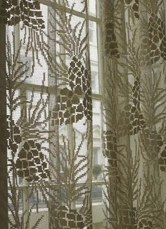 Curtains And Valance Art Deco Pine Apple Created By Helen Henry