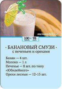 Карточка рецепта Банановый смузи с печеньем и орехами