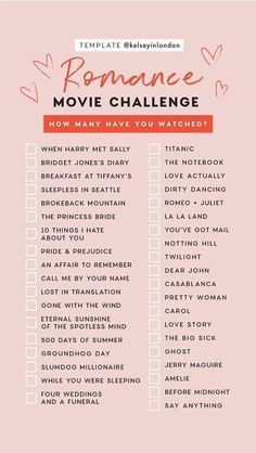 Romance Movie Challenge checklist by Kelseyinlondon How many have you watched? - Romance Movie Challenge checklist by Kelseyinlondon How many have you watched? Movies To Watch Teenagers, Netflix Movie List, Netflix Movies To Watch, Good Movies To Watch, 80s Movies, Indie Movies, Movies 2019, Action Movies, Netflix Netflix