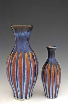 Fluted Vases from Flambeaux Art Pottery