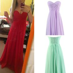 Tidetell.com Buy this Sweetheart Bridesmaid Chiffon Prom Dresses Long Evening Gowns for under $200