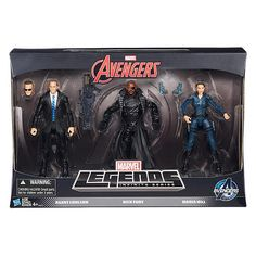 Agents of Shield Marvel Legends set of Agent Coulson, Nick Fury, Maria Hill 6 inch figures. Toys R Us exclusive.