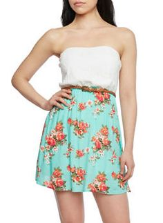 Cutout Bow Back Tube Dress with Crochet and Floral Print,MINT