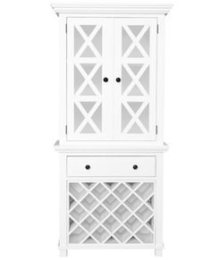 Sorrento Criss Cross Glass Door Cabinet with Wine Rack - White – Allissias Attic & Vintage French Style