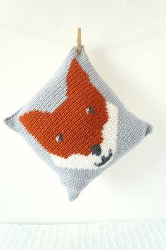 cushion crochet pattern intarsia UK terms US PDF tutorial fox pillow woodland animal crochet pattern modern by LittleDoolally on Etsy https://www.etsy.com/uk/listing/170493939/cushion-crochet-pattern-intarsia-uk