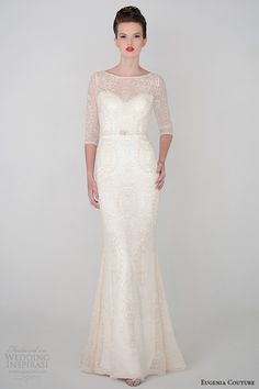 eugenia couture spring 2015 collection three quarter sleeve scoop neckline sheath wedding dress anastasia 3929