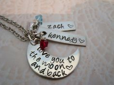 Hand stamped Love you to the moon & back necklace by CJBEDesign, $33.49