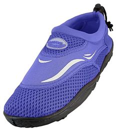 WavePro Women's Water Shoes with Elastic Mesh and Soft Removable Insole, Purple, Size 9 (M) US *** Check out the image by visiting the link.