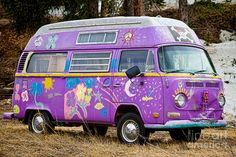 The Magic bus, an old vintage VW camper bus painted in the spirit of the Fine art photography prints, canvas art, acrylic prints and stock images by By James Bo Insogna Volkswagen Transporter, Volkswagen Bus, Vw Camper, Campers, Combi Hippie, Hippie Style, Vw Minibus, Vw Vanagon, Kombi Home