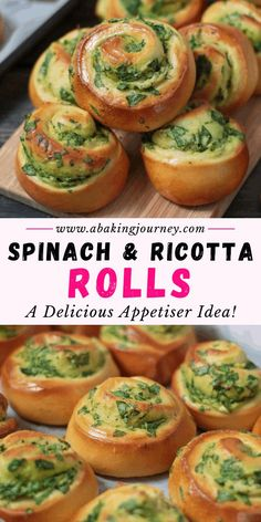 Spinach and Ricotta Rolls made from scratch with fresh ingredients - This easy Savory Rolls Recipe with cheese and spinach is a great savory breakfast idea. The easy vegetarian baked pinwheels are gre Queso Ricotta, Spinach Ricotta, Spinach And Cheese, Spinach Rolls, Lunch Box Recipes, Snack Recipes, Cooking Recipes, Lunchbox Ideas, Savoury Recipes