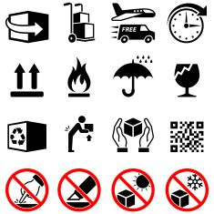 Shipping Box Process and Labels black & white icon set vector art illustration