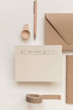 Minimalist beige wedding stationary. These minimalist wedding invitations are the perfect modern addition to your contemporary wedding ceremony.