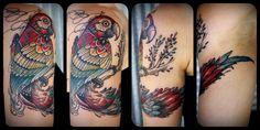 Macaw // David Hale tattoo  I met this girl yesterday in Brisbane. Amazing work!