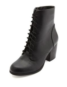chunky-heeled lace-up booties cute