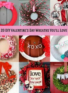 Are you getting ready for Cupid's favorite holiday? Adorn a wall or door with a cute DIY Valentine's Day wreath – here are 20 projects you can make! Great options for farmhouse or rustic decor. Valentines Decoration, Diy Valentines Day Wreath, Valentines Day For Him, Valentine Day Boxes, Valentine Day Crafts, Valentine Ideas, Printable Valentine, Homemade Valentines, Valentine's Day Crafts For Kids