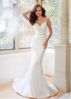 Charming Tulle & Satin Mermaid V-neck Natural Waistline Wedding Dress With Beaded Lace Appliques & Embroidery