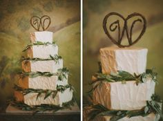 Vineyard Wedding Cake,  5 tier wedding cake with olive leaves, cake topper, petal pushers