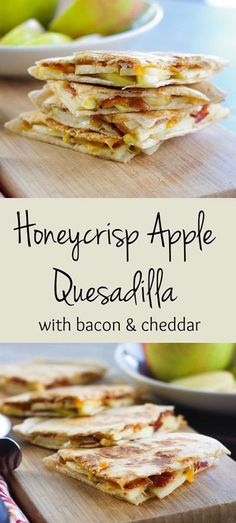 Honeycrisp Apple Quesadillas - Sometimes a sandwich for lunch can get pretty boring, don't you think? Enjoy sweet fall Honeycrisp apples by pairing them with salty, crisp bacon and sharp cheddar cheese in these lunchtime quesadillas. Appetizer Recipes, Snack Recipes, Cooking Recipes, Apple Recipes For Kids, Apple Snacks, Healthy Recipes, Gastronomia, Recipes, Mexican Food Recipes