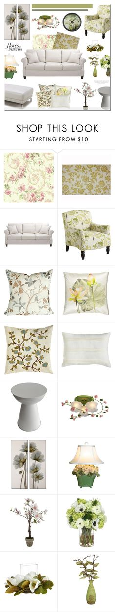 """""""Living Room - Floral theme"""" by anyasdesigns ❤ liked on Polyvore featuring interior, interiors, interior design, home, home decor, interior decorating, York Wallcoverings, Ethan Allen, Pier 1 Imports and Designers Guild"""