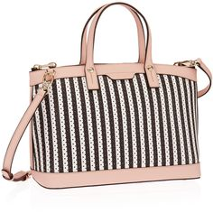 Henri Bendel West 57th Perforated Striped Satchel (5.566.030 IDR) ❤ liked on Polyvore featuring bags, handbags, leather handbags, white leather satchel, satchel purse, leather purse and leather satchel purse