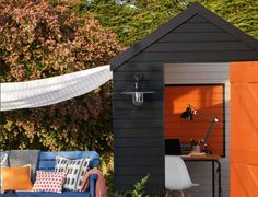 "– Cuprinol shows you ""How To Create a …. Black Shed, Shed Of The Year, Shed Makeover, Cuprinol, Shed Colours, Outdoor Storage, Favorite Color, Tiny House, Patio"