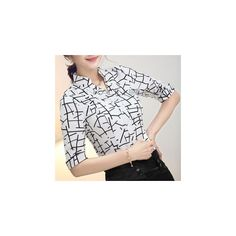 Print Elbow-Sleeve Chiffon Shirt (25 AUD) ❤ liked on Polyvore featuring tops, shirts, women, black white top, elbow sleeve shirt, sleeve shirt, black and white chiffon shirt and elbow length sleeve tops