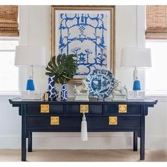Blue and White (Chinoiserie Chic) - Trellis Home Design A lovely Chinoiserie vignette features Dana Gibson art, a pair of Greek key lam - Decor, Asian Decor, White Home Decor, Furniture, Elegant Home Decor, House Interior, Room Decor, White Decor, Retro Home Decor