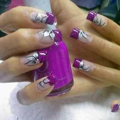 Flowers purple french manicure