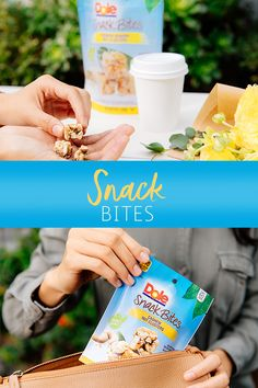 Dole Snack Bites are a scrumptious treat in a variety of flavors featuring decadent chocolate, roasted nuts, and fruit.