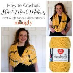 Plaid Mood Mobius Tutorial - right & left-handed on Moogly! Crochet Hood, Crochet Projects, Crochet Tutorials, Crochet Ideas, Diy Projects, Red Heart Yarn, Work Inspiration, Learn To Crochet, Crochet Scarves