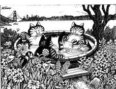 Kliban Cats NIGHT SKY LANDSCAPE CAT vintage funny cat art print
