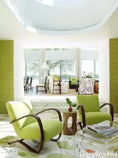 Watch the color green travel from space to space...    Read More: http://goeye4design.com/accessorize-with-color/
