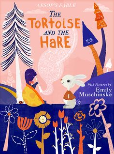 www.emilymuschinske.com Aesop's Fable, Tortoise and the Hare, book cover, children's book design, illustration.