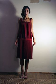 Red dress flapper style pleated Made to Order by ElenaMassari, $195.00