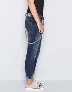 DNM PEG-LEG SKINNY TROUSERS WITH SUSPENDERS