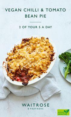 Serve with steamed tenderstem broccoli, if liked. Veggie Dishes, Veggie Recipes, Vegetarian Recipes, Cooking Recipes, Healthy Recipes, 5 A Day Recipes, Vegan Bean Recipes, Vegan Pies Savoury, Waitrose Food