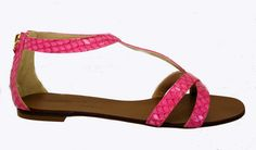 Tapeet Vicini C30038 36784 Pink snake print T strap flat sandal with zipper back closure.